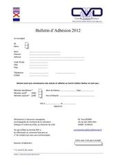 bulletin d adhesion