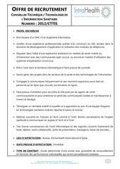intrahealth offre de recrutement conseillers technique