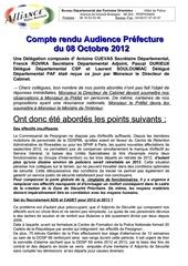 compte rendu audience prefecture du 08 10 2012