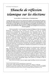 ebauche de reflexion islamique sur les elections 2