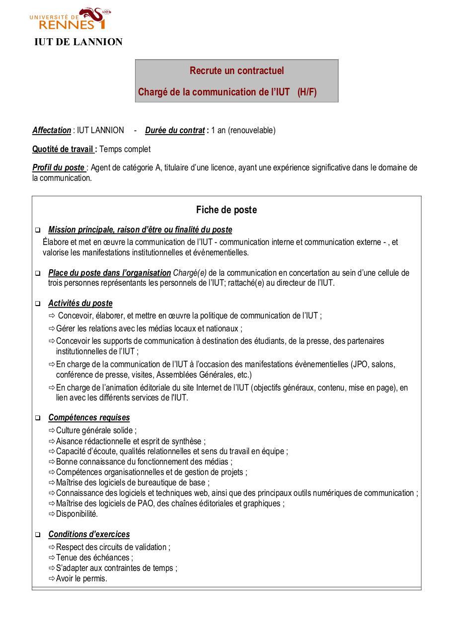 fiche poste charg u00e9 de com v2 2012 13 par helene romeyer