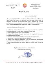 greve des internes et des residents 30 31 oct 2012