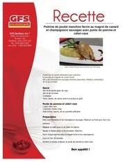 Fichier PDF recette poitrine de poulet manchon au canard et champignons sauvages