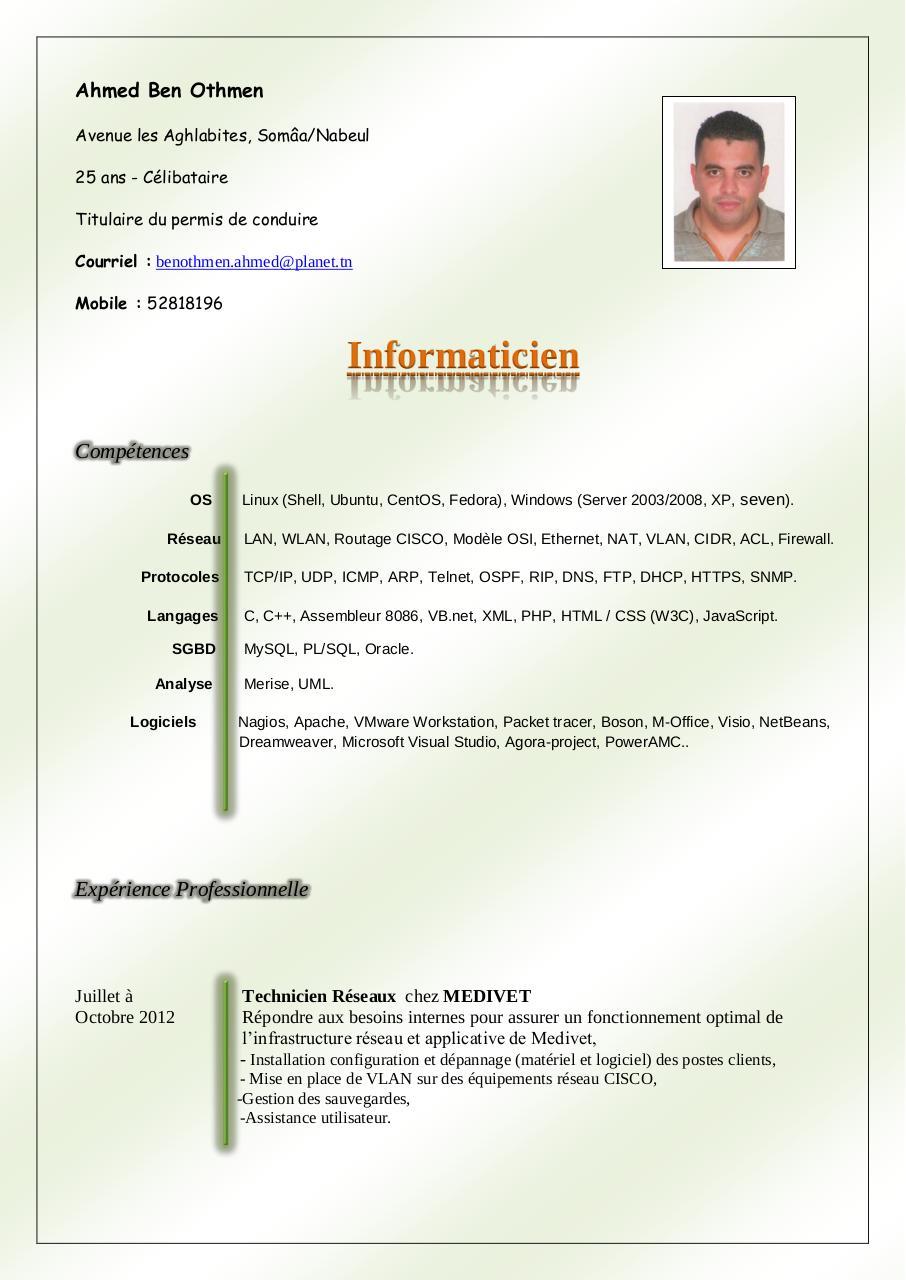 exemple de cv suisse 2012