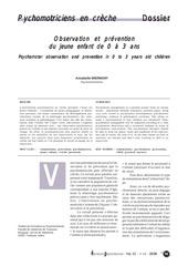 psychomotricite en creche observation et prevention du jeune enf