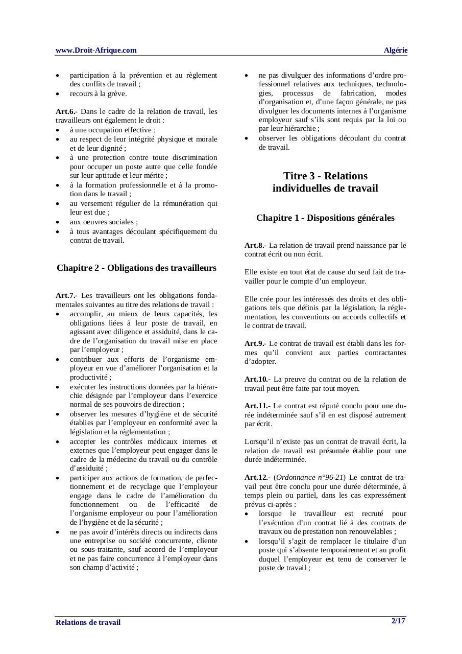 Algerie Relations De Travail Par Droit Afrique Fichier Pdf