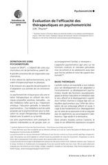 Evaluation de l efficacite des therapeutiques en psychomotricite