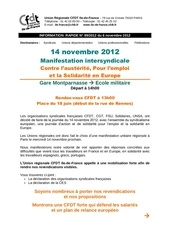 manifestation 14 novembre pour l emploi contre l austerite et pour la solidarite en europe