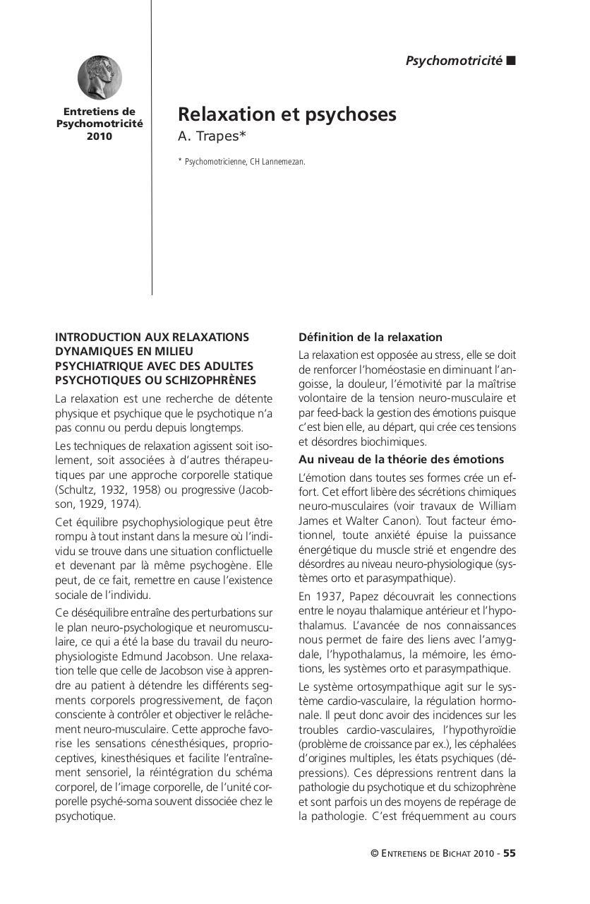 01 Psychomotricite couv - Relaxation et psychoses pdf - Fichier PDF