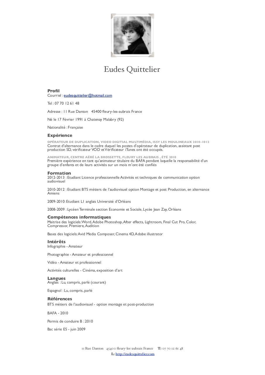 cv pdf par eudes quittelier