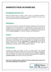 Fichier PDF manifeste pour un panier bio