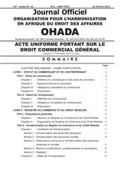 acte uniforme ohada au droit commercial