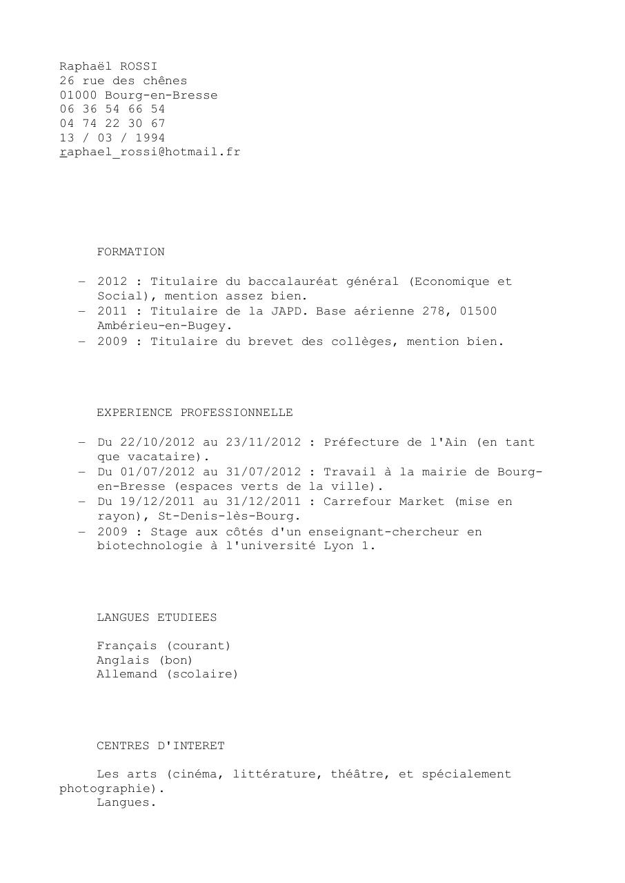 resume format  cv enseignant vacataire