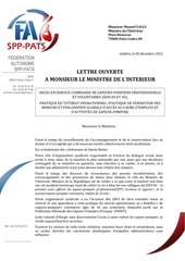 fa spp pats lettre ouverte m le ministre de l interieur le 05 12 2012