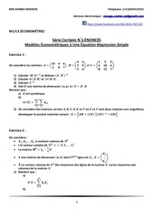 Fichier PDF m1 l3 EconomEtrie serie corrigee n 1 modeles Econometriques a un