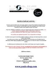 Fichier PDF formulaire de retour yonis shop
