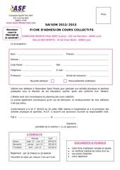 formulaire inscription cours collectifs 2012 2013