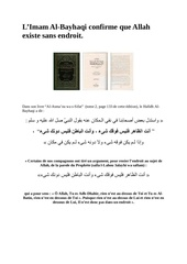 l imam al bayhaqi confirme que allah existe sans endroit