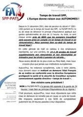 communique autonome temps de travail spp l europe donne raison aux autonomes le 05 12 2012