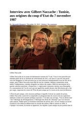 interview avec gilbert naccache tunisie aux origines du coup d etat du 7 novembre 1987