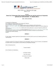 decret du 19 decembre 2012 portant nomination du chef du service de l inspection generale de l administration m abadie marc legifrance