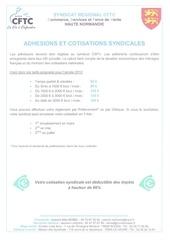 adhesion et tarifs