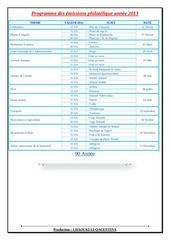programme des emissions philatelique annee 2013
