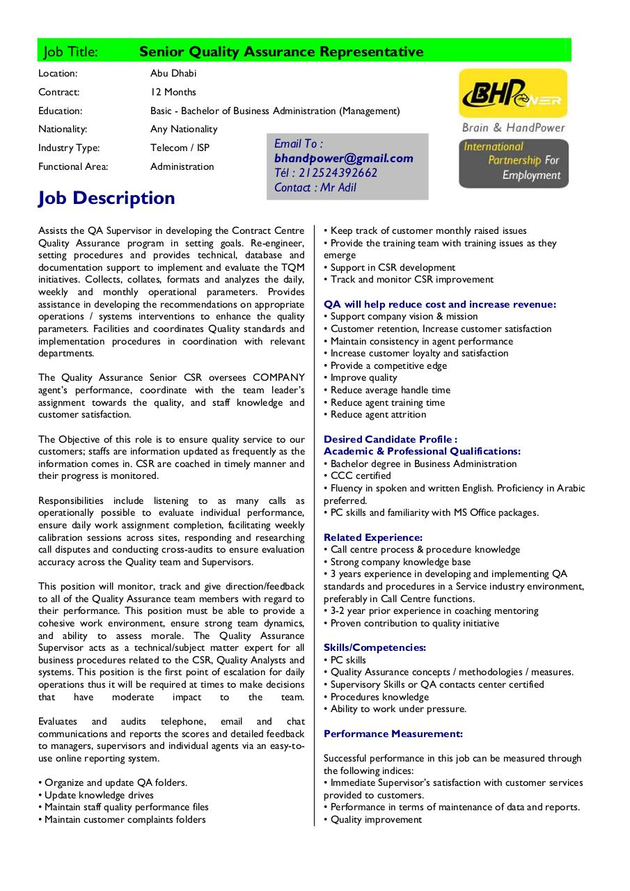 Aperçu du document Job Title senior quality assurance representative.pdf - page 1/1