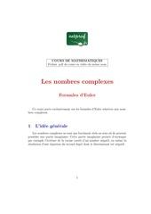 mathematiques terminale complexes formules d euler 1