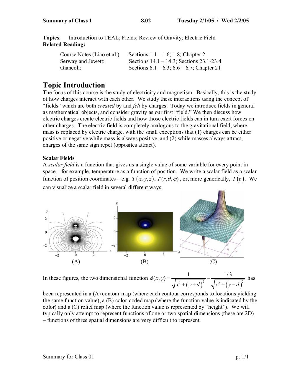 Summary W01D1 doc par cc rrose - Study Materials for MIT Course
