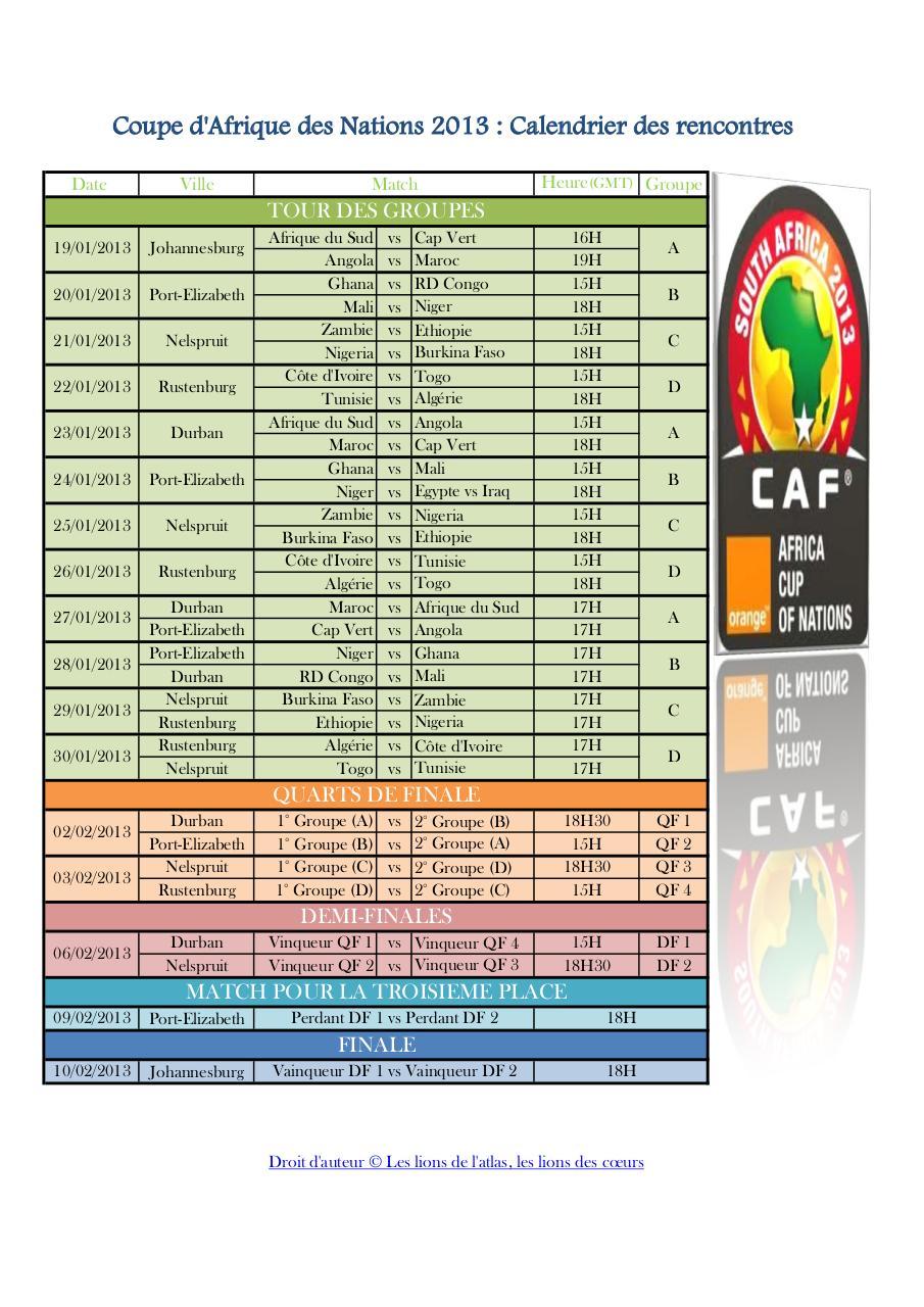Coupe d 39 afrique des nations 2013 calendrier des rencontres - Coupe d afrique des nation ...