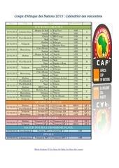 coupe d afrique des nations 2013 calendrier des rencontres