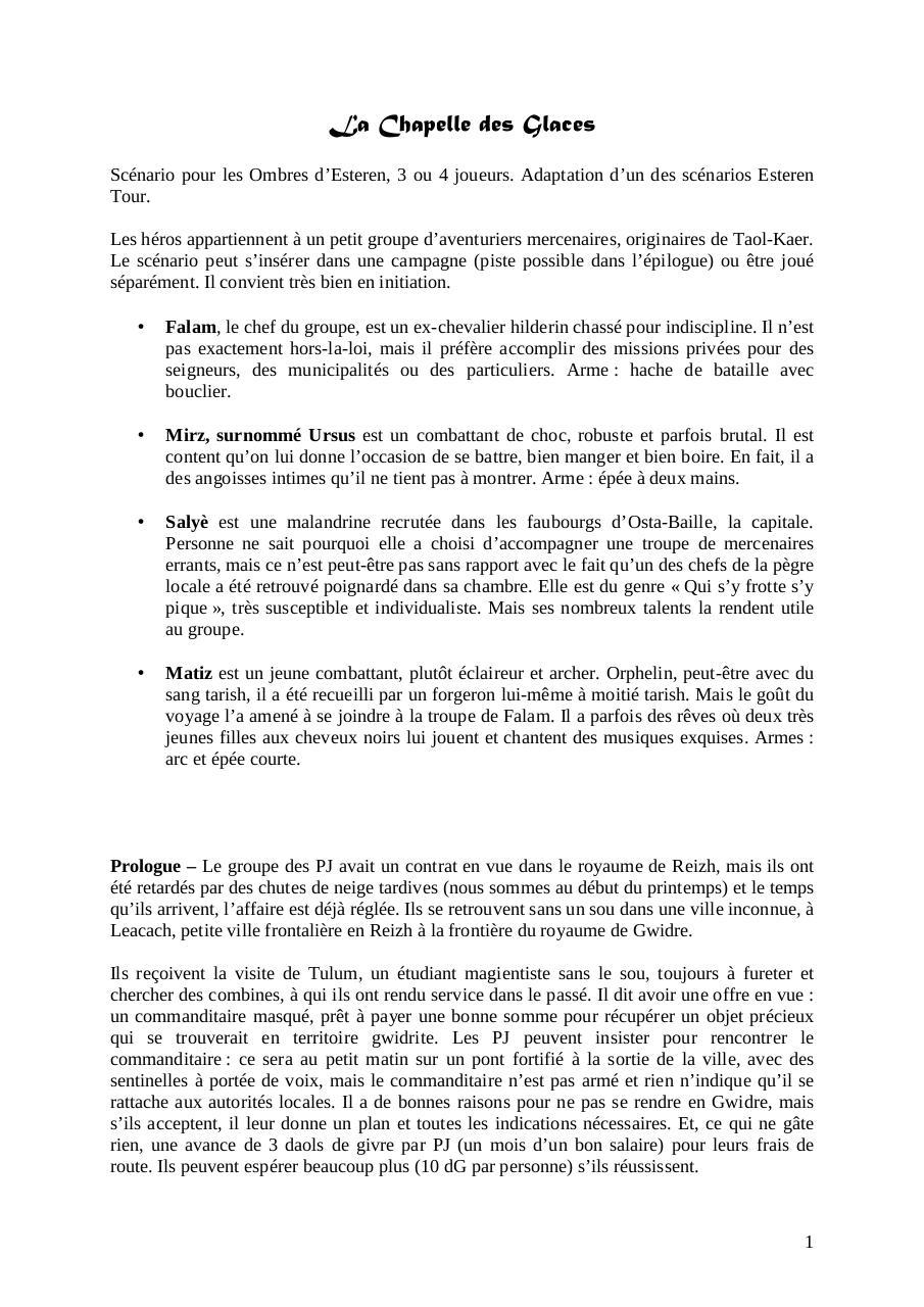 La Chapelle Des Glaces Fichier Pdf