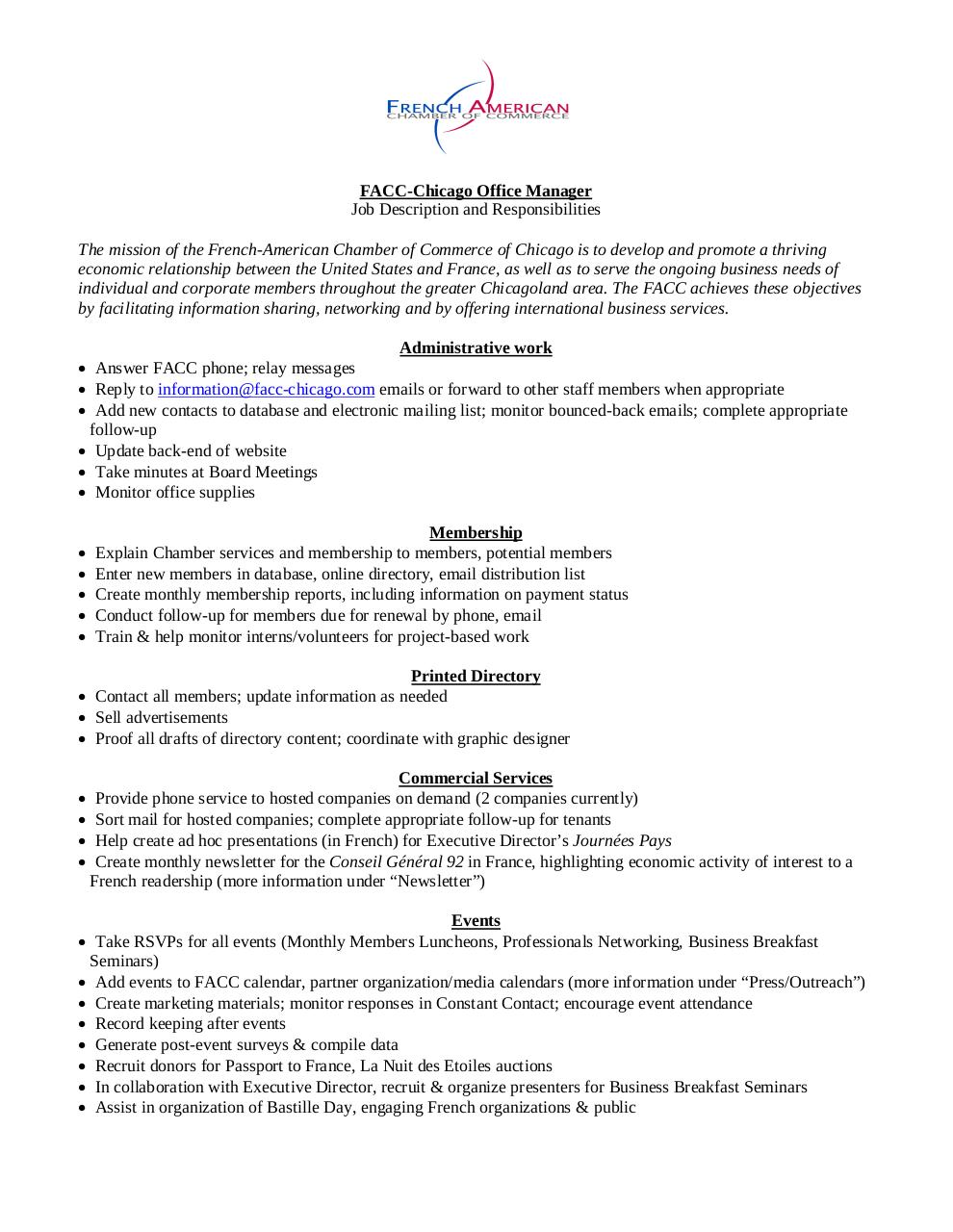 Job description office manager facc chicago job - Office administration executive job description ...