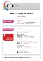 emploi du temps partiels s1 2013