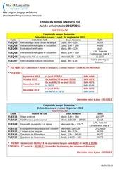 emploi du temps m1 fle 2012 2013 2