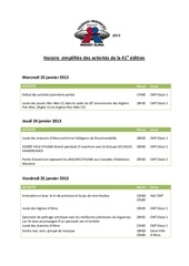 horaire simplifiee des activites de la 41e edition