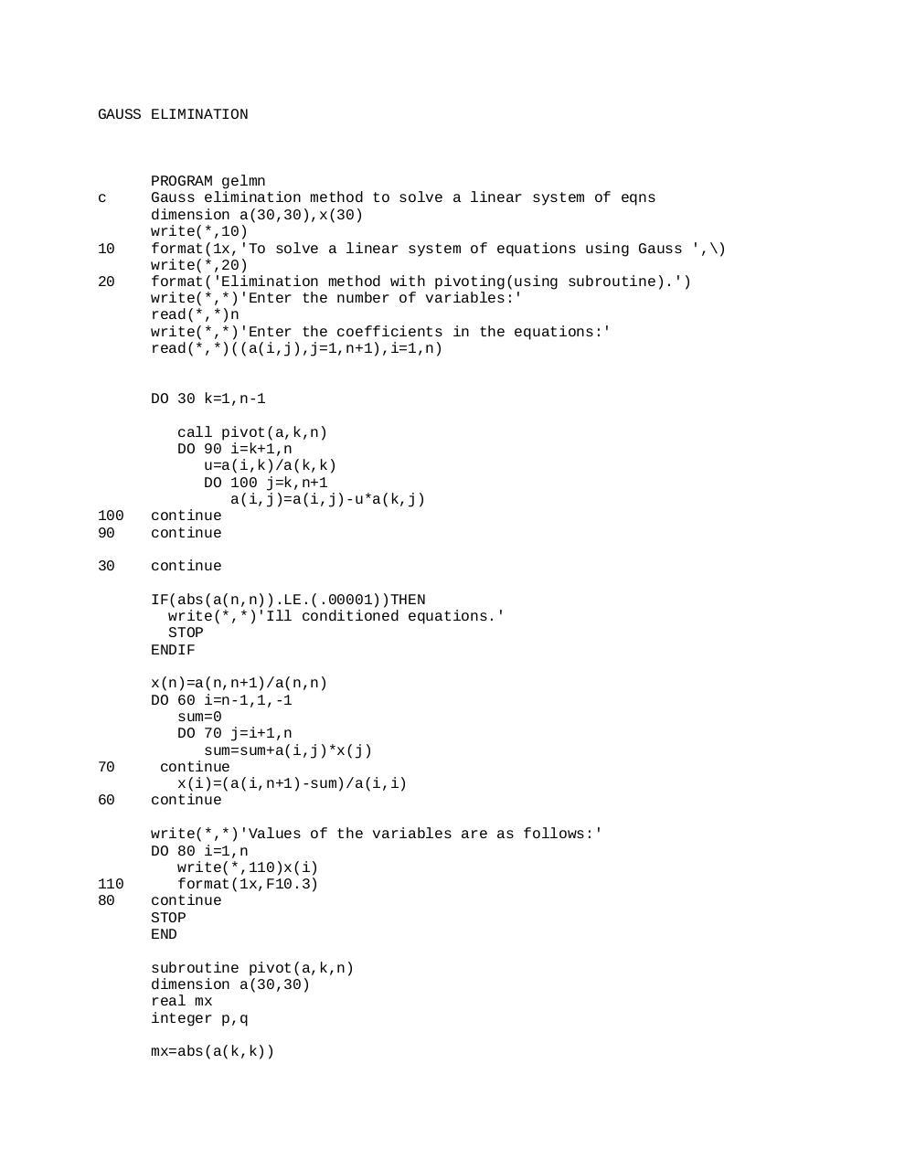 bisect - FORTRAN PROGRAMS pdf - Fichier PDF