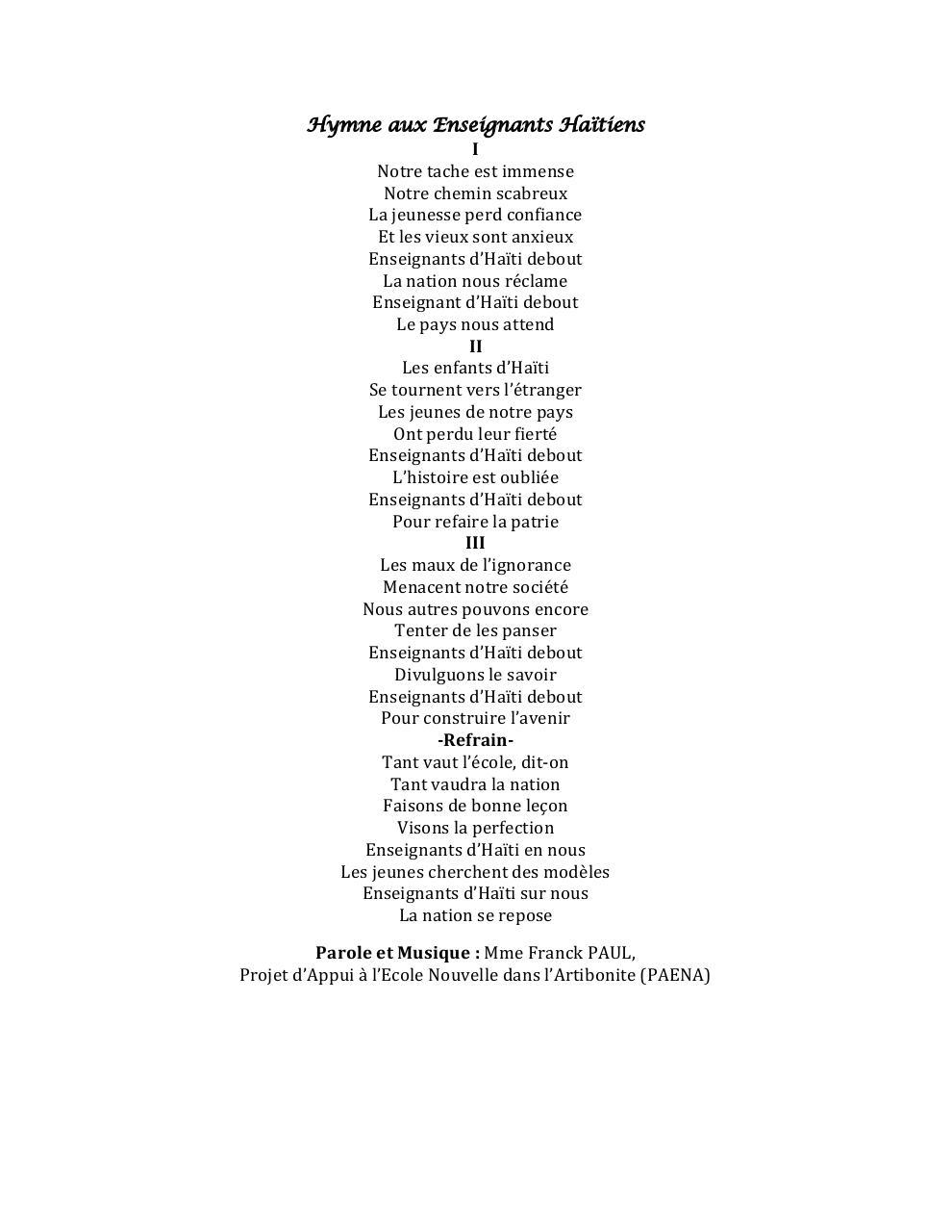 hymne national du mali pdf