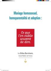 mariage homosexuel homoparentalite et adoption ce que l on oublie souvent de dire essai de gilles bernheim grand rabbin de france