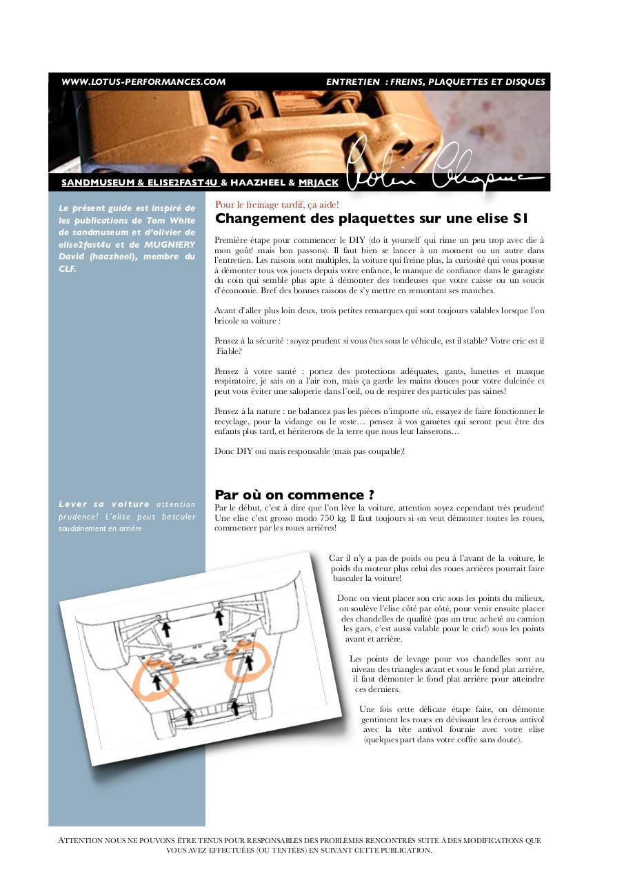 entretien freins changement de plaquettes lotus elise s1 remplacement fichier pdf. Black Bedroom Furniture Sets. Home Design Ideas