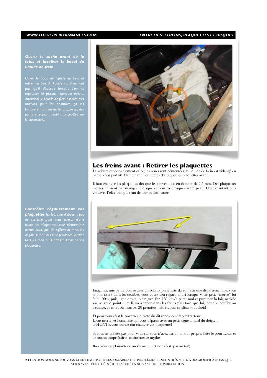 entretien freins changement de plaquettes lotus elise s1 remplacement page 1 14. Black Bedroom Furniture Sets. Home Design Ideas