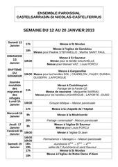semaine du 12 au 20 janvier 2013