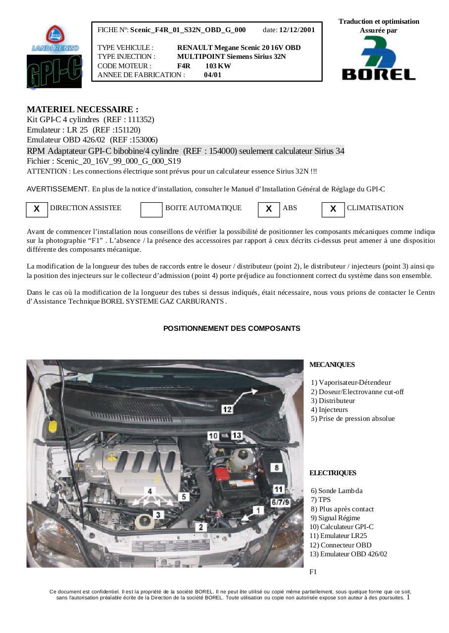 Installation kit GPI-C pour Renault Mgane Scnic 2.0 16 V par ...