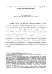 l interpretation de l article 1er de la constitution tunisienne au regard de la liberte de conscience
