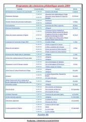 programme des emissions philatelique annee 2009