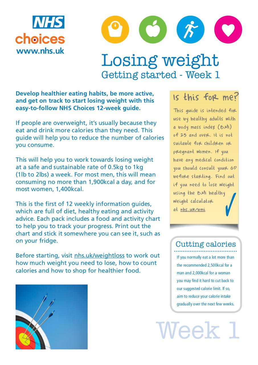 Nhs Weight Loss Guide Nhs Choices Par Nhs Choices Week 1 Nhs