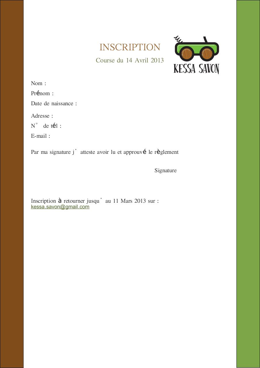 INSCRIPTION + REGLEMENT Kessa Savon 2013.pdf - page 1/2