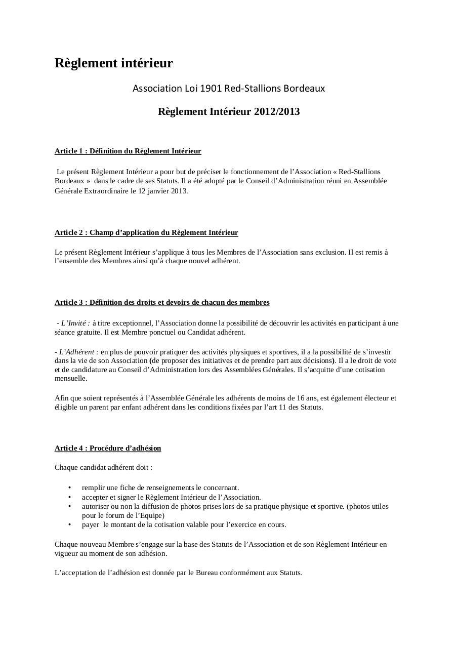 Reglement Interieur Red Stallions Bordeaux Par Maison Fichier Pdf