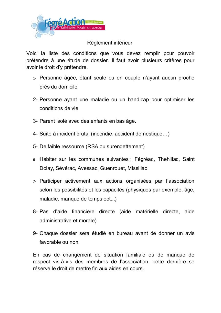 R glement int par mazan fichier pdf for Exemple de reglement interieur association